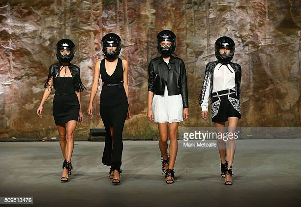 Models showcase designs by sass bide on the runway at the Myer AW16 Fashion Launch on February 11 2016 in Sydney Australia