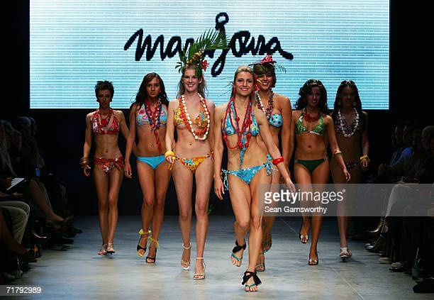 Models showcase designs by swimwear designer Marajoara during Rosemount Australian Fashion Week Transeasonal 2007 at The Showroom St Kilda Sea Baths...