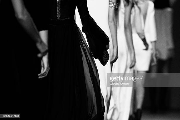 Models showcase designs by Teresa Helbig on the runway at Teresa Helbig show during Mercedes Benz Fashion Week Madrid Spring/Summer 2014 at Ifema on...