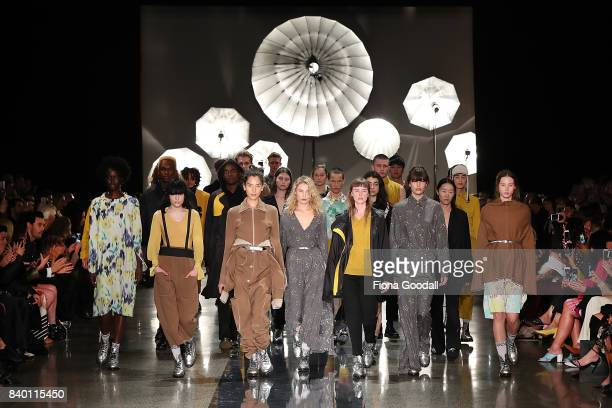 Models showcase designs by Zambesi on the runway at New Zealand Fashion Week 2017 on August 28 2017 in Auckland New Zealand