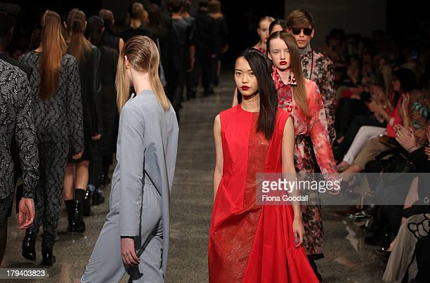 Models showcase designs by Zambesi on the runway during New Zealand Fashion Week at the Viaduct Events Centre on September 3 2013 in Auckland New...