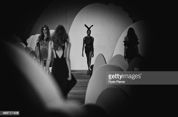 Models showcase designs during the Alice McCall Show at MercedesBenz Fashion Week Australia 2015 at Carriageworks on April 14 2015 in Sydney Australia