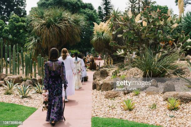 Models showcase designs during the Arid Garden Runway as part of Melbourne Fashion Week on November 24, 2020 in Melbourne, Australia.