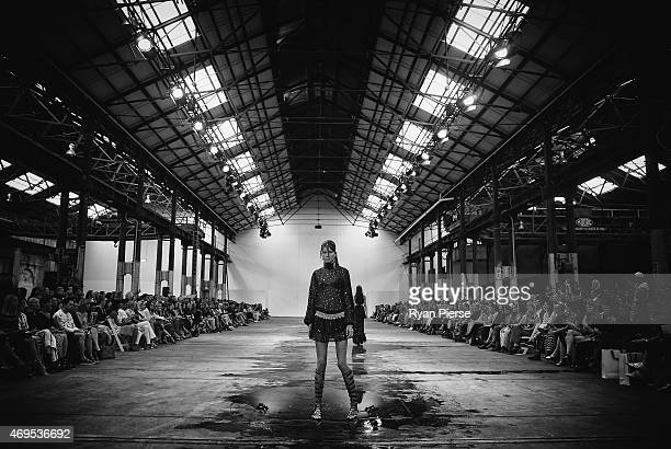Models showcase designs during the Bec Bridge show at MercedesBenz Fashion Week Australia 2015 at Carriageworks on April 13 2015 in Sydney Australia