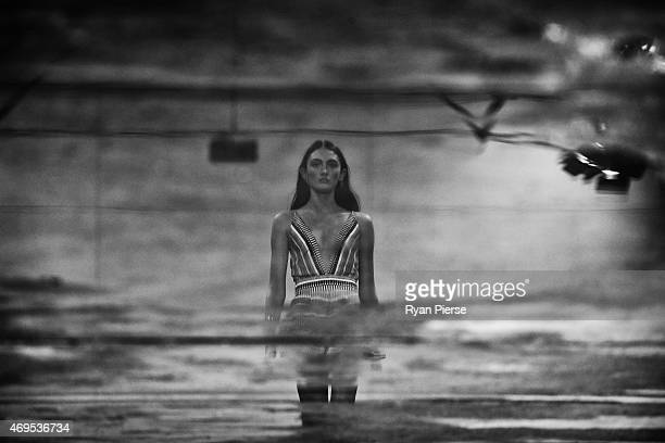 Models showcase designs during the Bec Bridge show at MercedesBenz Fashion Week Australia 2015 at Carriageworks on April 13 2015 in Sydney Australia