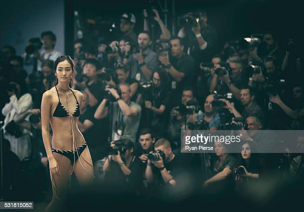 Models showcase designs during the Bec Bridge show during MercedesBenz Fashion Week Australia at Carriageworks on May 17 2016 in Sydney New South...