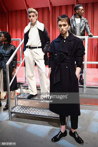 Models showcase designs during the Belstaff presentation during London Fashion Week Men's January 2017 collections at Ambika P3 on January 9 2017 in...