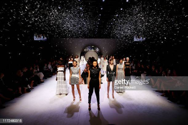 Models showcase designs during the Closing Town Hall Runway at Melbourne Fashion Week at Melbourne Town Hall on September 05 2019 in Melbourne...