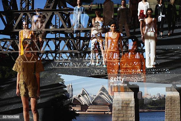 Models showcase designs during the Manning Cartell show during MercedesBenz Fashion Week Australia at Milsons Point on May 17 2016 in Sydney New...