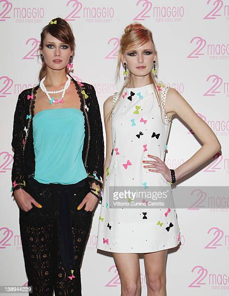 Models showcase designs from the 22 Maggio By Maria Grazia Severi collection on February 14, 2012 in Milan, Italy.