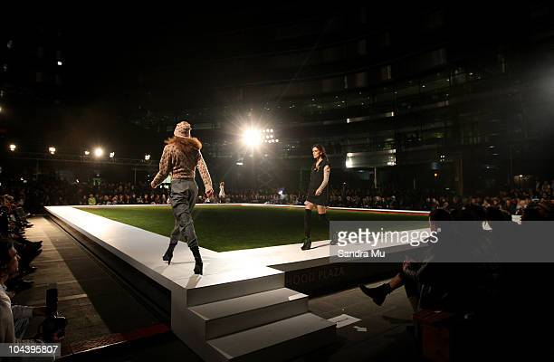Models showcase designs in the Huffer show as part of New Zealand Fashion Week 2010 at Owen Glenn Building on September 24 2010 in Auckland New...