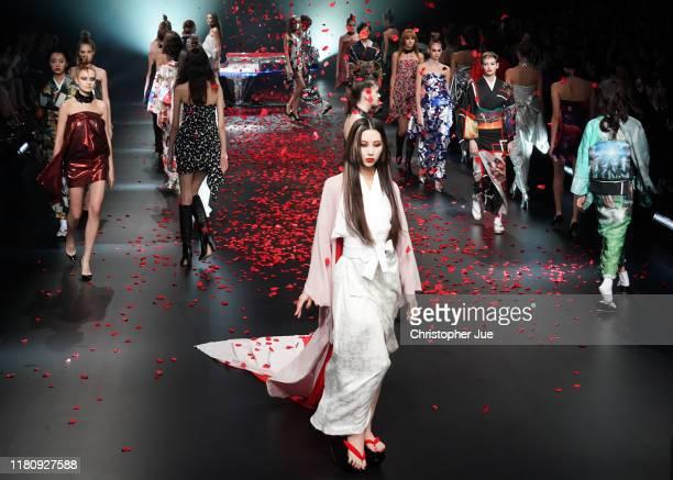 Models showcase designs on runway by Yoshikimono during Rakuten Fashion Week TOKYO 2020 S/S on October 14, 2019 in Tokyo, Japan.