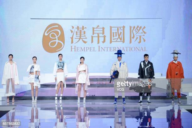 Models showcase designs on the runway at 'Hempel Award' the 25th China International Young Fashion Designers Contest during MercedesBenz China...