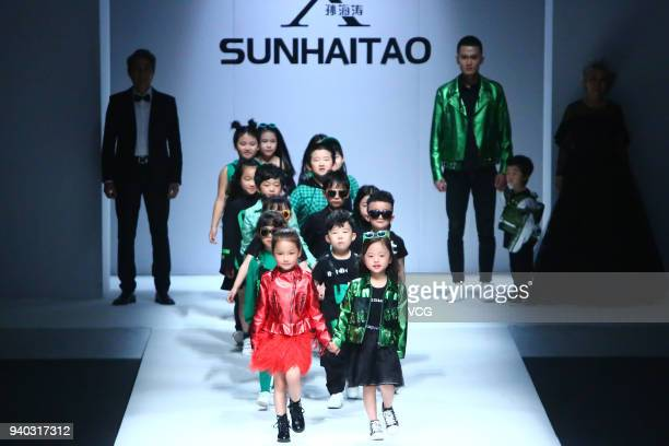 Models showcase designs on the runway at Sunhaitao show on day six of Mercedes-Benz China Fashion Week Autumn/Winter 2018/2019 at Beijing Hotel on...