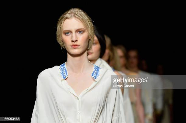 Models showcase designs on the runway at the Flannel show during MercedesBenz Fashion Week Australia Spring/Summer 2013/14 at Carriageworks on April...