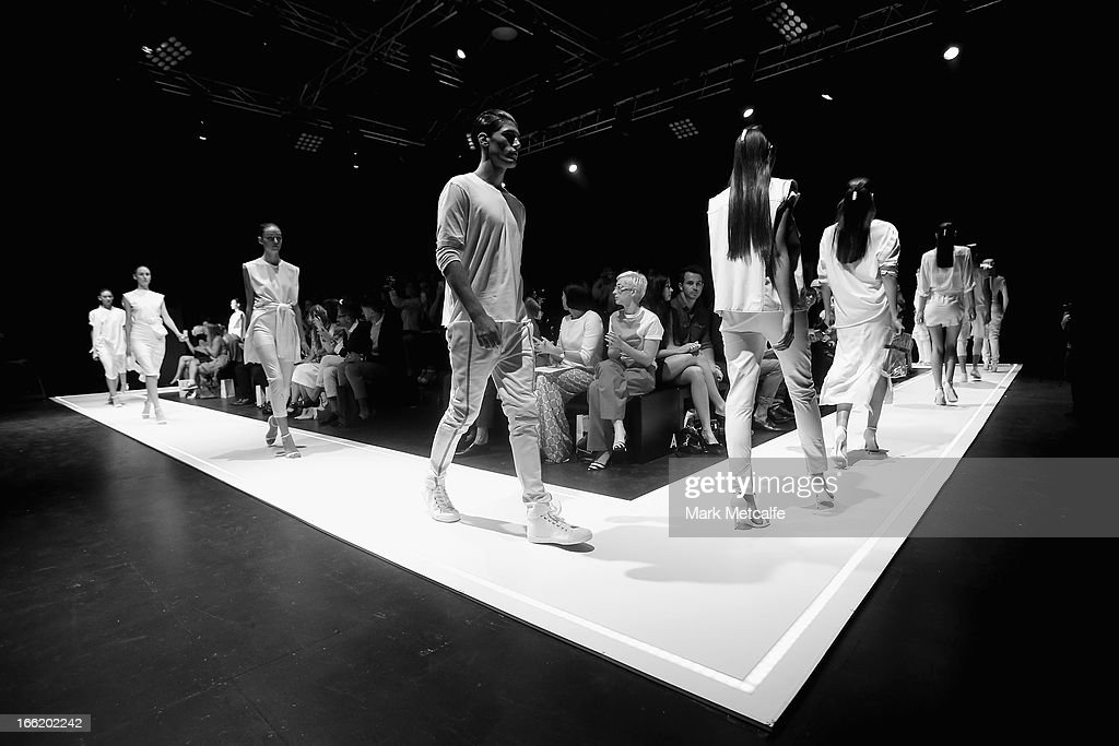 Models showcase designs on the runway at the Han show during Mercedes-Benz Fashion Week Australia Spring/Summer 2013/14 at Carriageworks on April 10, 2013 in Sydney, Australia.