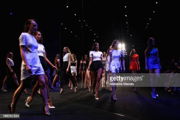 Models showcase designs on the runway at the Suboo show during MercedesBenz Fashion Week Australia Spring/Summer 2013/14 at Carriageworks on April 11...