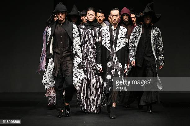Models showcase designs on the runway at XINSHEN LINEN Sun Lin Collection during the MercedesBenz China Fashion Week Autumn/Winter 2016/2017 at...