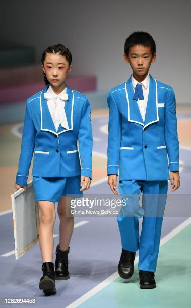 Models showcase designs on the runway during COTTON USA collection show by designer Liu Wei on day 5 of China Fashion Week 2021 Spring/Summer at...