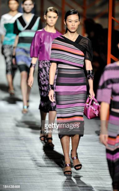 Models showcase designs on the runway during the Missoni show as part of Mercedes Benz Fashion Week Tokyo S/S 2014 at Hikarie Hall A of Shibuya...
