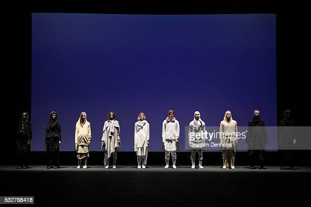 Models showcase designs on the runway during the Ten Pieces show at MercedesBenz Fashion Week Resort 17 Collections at Fox Studios on May 19 2016 in...