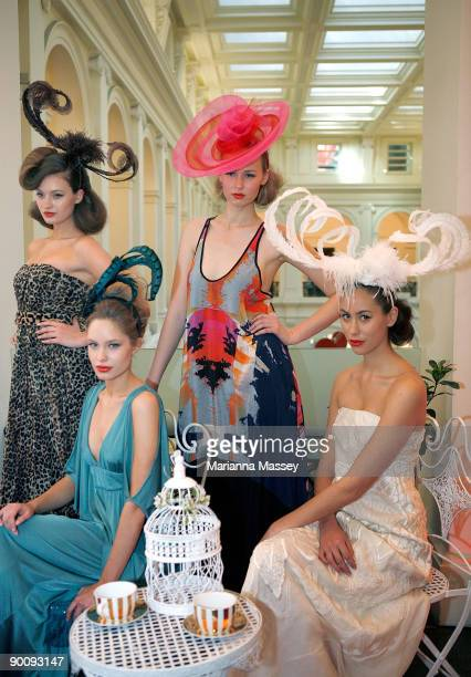 Models showcase dresses designed by Lisa Ho Leona Edmiston Manning Cartell and Akira with headpieces by Paris Kyne Master Milliner at the launch of...
