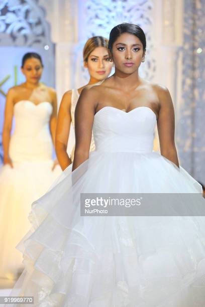 Models showcase exquisite bridal gowns during a South Asian bridal fashion show held in Toronto Ontario Canada on February 17 2018