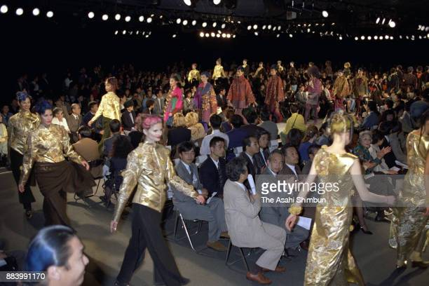 Models showcase on the runway during Kansai Yamamoto show at Tokyo Collection 1992 A/W on April 1 1992 in Tokyo Japan