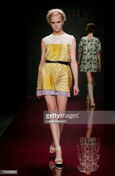 Models showcase outfits on the catwalk by designer Nevenka on day one of Rosemount Australian Fashion Week Spring/Summer 2007/08 off-site at the...