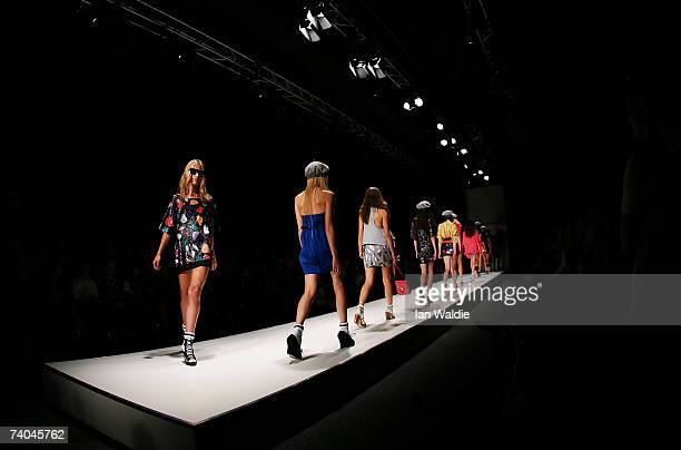 Models showcase outfits on the catwalk by designer Shakuhachi on day three of Rosemount Australian Fashion Week Spring/Summer 2007/08 at the Studio...