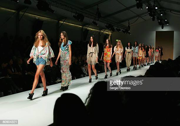 Models showcase outifts by designer Zimmermann on the catwalk during the second day of the Rosemount Australian Fashion Week Spring/Summer 2008/09...