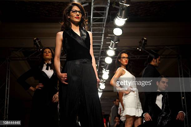 Models showcase the designs of Ammar Belal at the Islamabad Fashion Week on 27 January in Islamabad Pakistan Renowned Pakistani fashion designers...