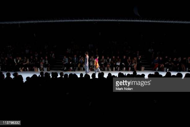 Models showcases designs by Poppy Lissiman during the New Generation 1 catwalk during Rosemount Australian Fashion Week Spring/Summer 2011/12 at...