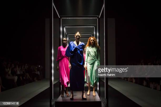 Models showcases designs during Townhall Runway Two show at Melbourne Fashion Week on September 4 2018 in Melbourne Australia