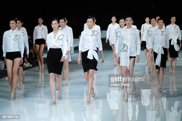 Models showcases designs on the runway at 'Hempel Award' the 25th China International Young Fashion Designers Contest during the MercedesBenz China...