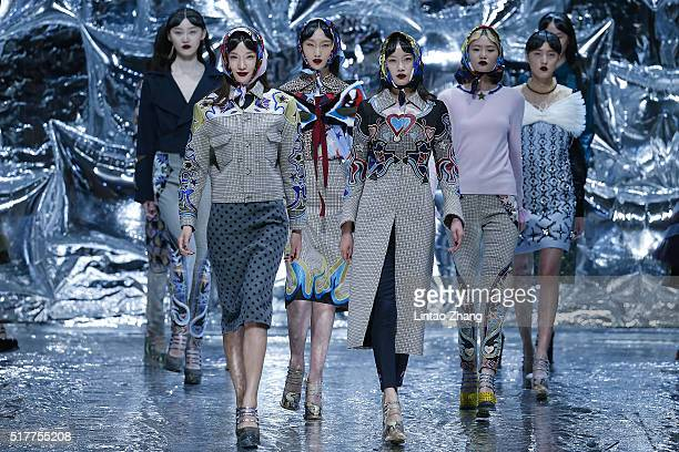 Models showcases designs on the runway at Mary Katrantzou Collection show during the MercedesBenz China Fashion Week Autumn/Winter 2016/2017 at...