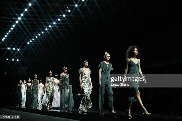Models showcases designs on the runway at the JEFEN Collection show during the MercedesBenz China Fashion Week Spring/Summer 2018 Collection at the...