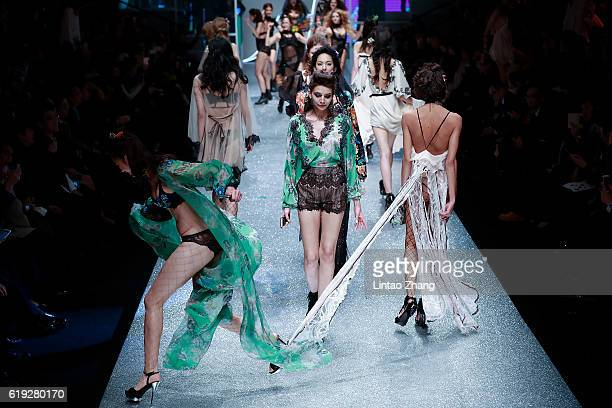 Models showcases designs on the runway during the collection by Aimer during MercedesBenz China Fashion Week Spring/Summer 2017 at China central...