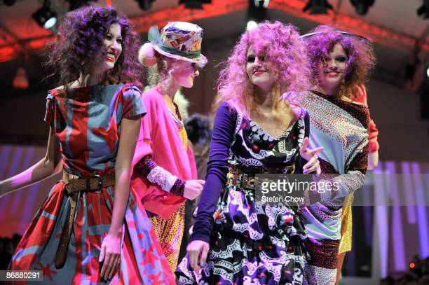 Models showcasing designs by Vivienne Westwood for her Autumn/Winter Collection 2009 on the catwalk at the Ngee Ann City Civic Plaza on Day 5 and...