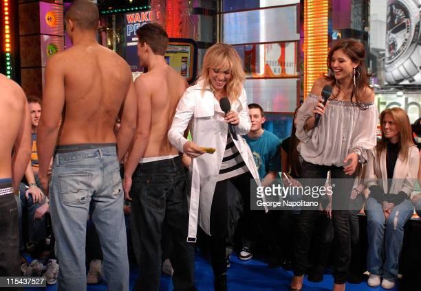 Models Singer Natasha Bedingfield and MTV VJ Lyndsey Rodrigues MTV's TRL at MTV Studios Times Square on January 22 2008 in New York City