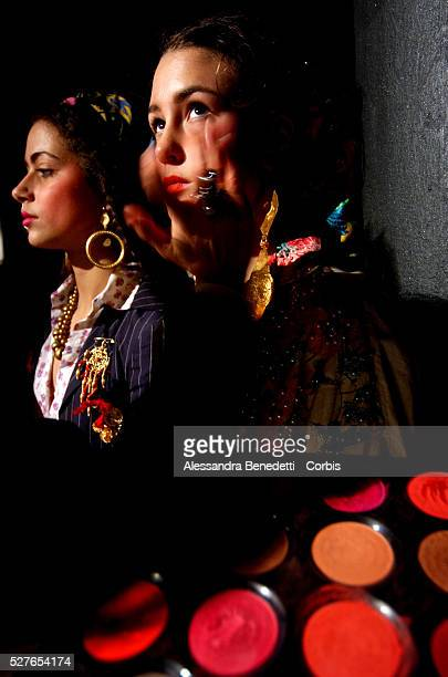 Models sit it out backstage during the first fashion show entirely created by Rom tailors at the Macro Museum of Modern Art of Rome The aim of the...