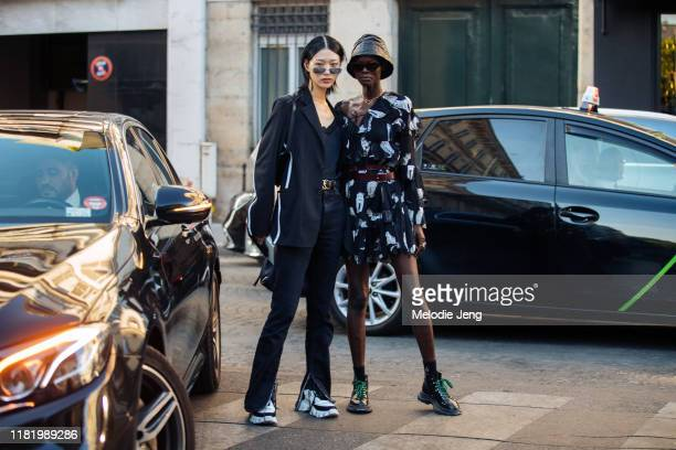 Models Sora Choi and Shanelle Nyasiase after the Valentino show during Couture Fashion Week Fall/Winter 2019 on July 03, 2019 in Paris, France. Sora...