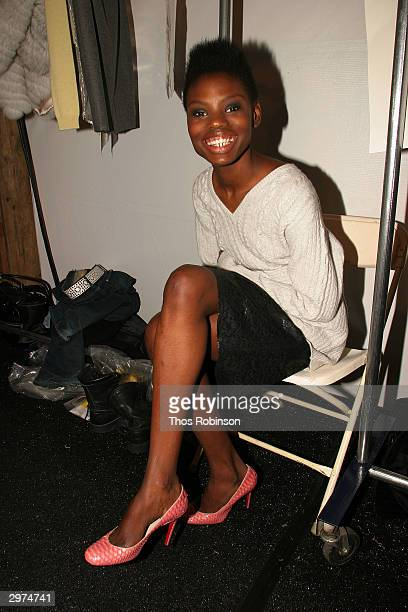 Models stand backstage at the Jeffrey Chow Fall 2004 during Olympus Fashion Week February 12 2004 in New York City