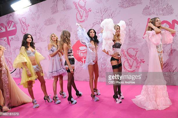 Models stand backstage at THE VICTORIA'S SECRET FASHION SHOW on Tuesday Dec 2 2014 The show is scheduled to air Tuesday Dec 9 1000 PM ET/PT on the...