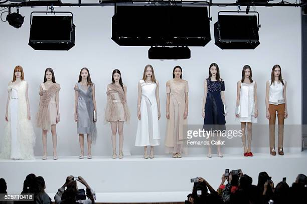 Models Standing at Gloria Coelho Runway at SPFW Summer 2017 at on April 28 2016 in Sao Paulo Brazil