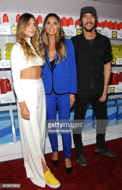 Models Stefanie Giesinger Heidi Klum and art director Thomas Hayo attend 'Esmara By Heidi Klum Heidi And The City' Fashion Presentation during New...