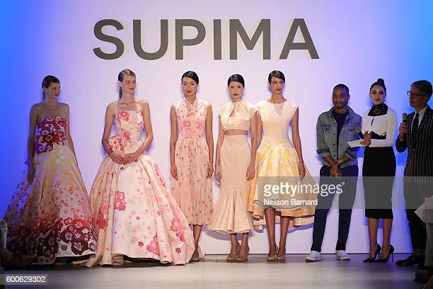 Models Supima Design Competition Finalist Jeffrey Taylor Olivia Culpo and VP Marketing and Promotions at Supima Buxton S Midyette onstage during the...