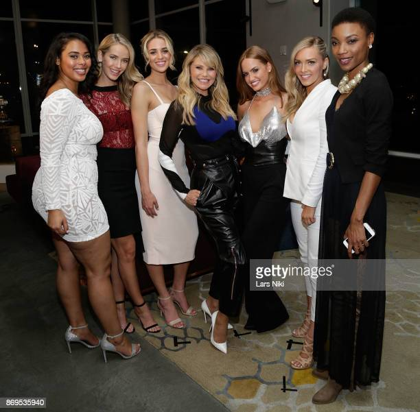 Models Tabria Majors Olivia Jordan Allie Ayers Christie Brinkley Haley Kalil Camille Kostek and Iyonna Fairbanks attend the SI Swimsuit 2018 Model...