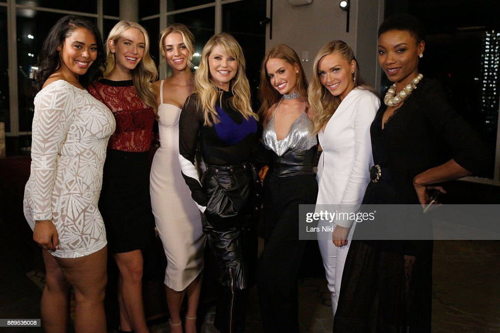 Models Tabria Majors, Olivia Jordan, Allie Ayers, Christie Brinkley, Haley Kalil, Camille Kostek and Iyonna Fairbanks attend the SI Swimsuit 2018 Model Search celebration and preview of the Sports Illustrated Swim and Active Collection at Mr. Purple in Hotel Indigo LES November 1, 2017 in New York City.