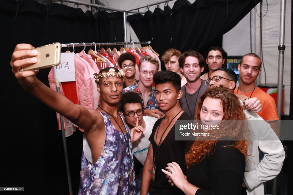 Models take a selfie backstage for the RISD fashion show during New York Fashion Week: The Shows at Gallery 1, Skylight Clarkson Sq on September 13, 2017 in New York City.